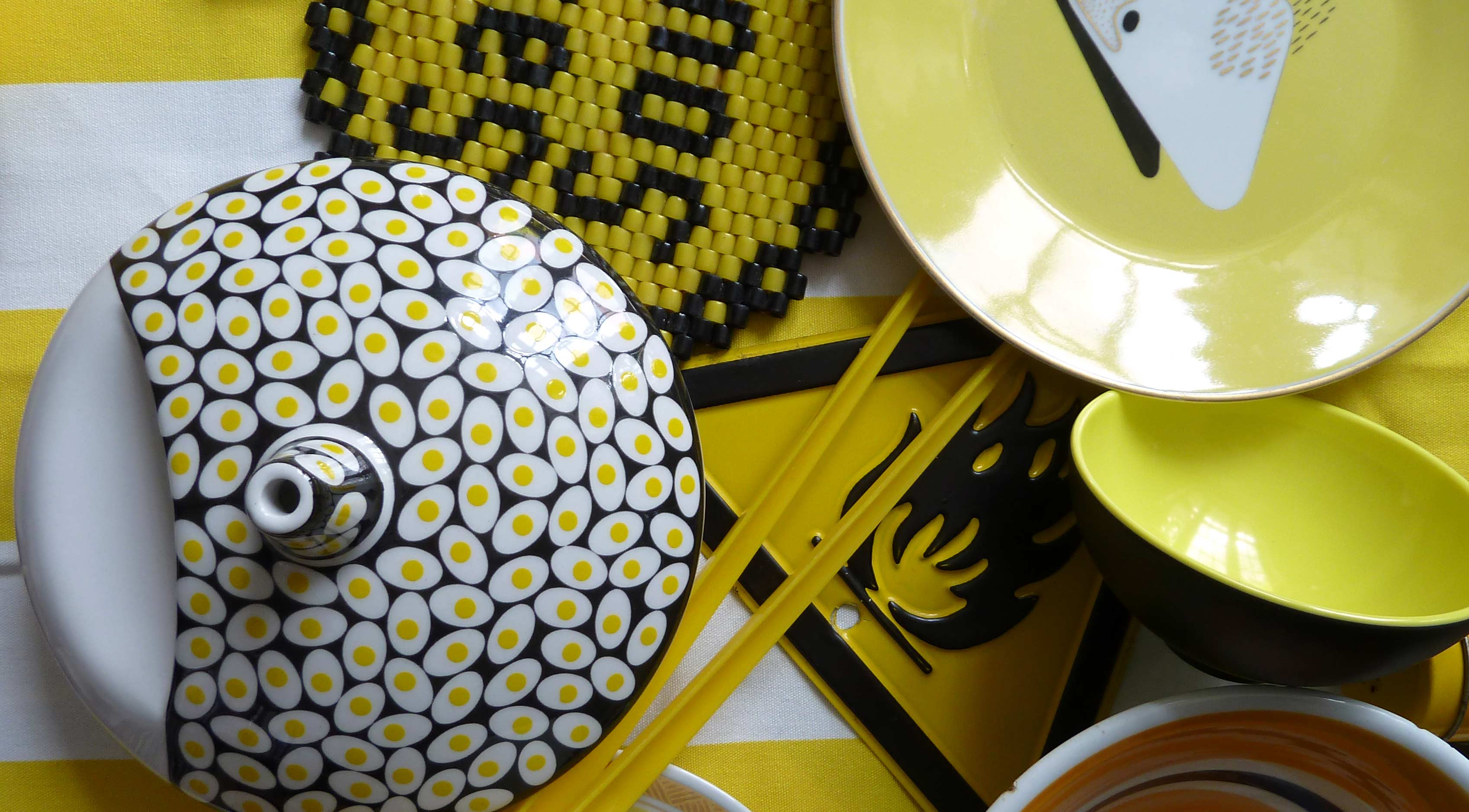 Porzellan Schalen Teller gelb