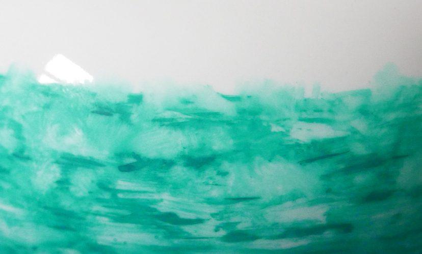 weiße Teekanne victim pot Pfefferminztee mit grünem dekor