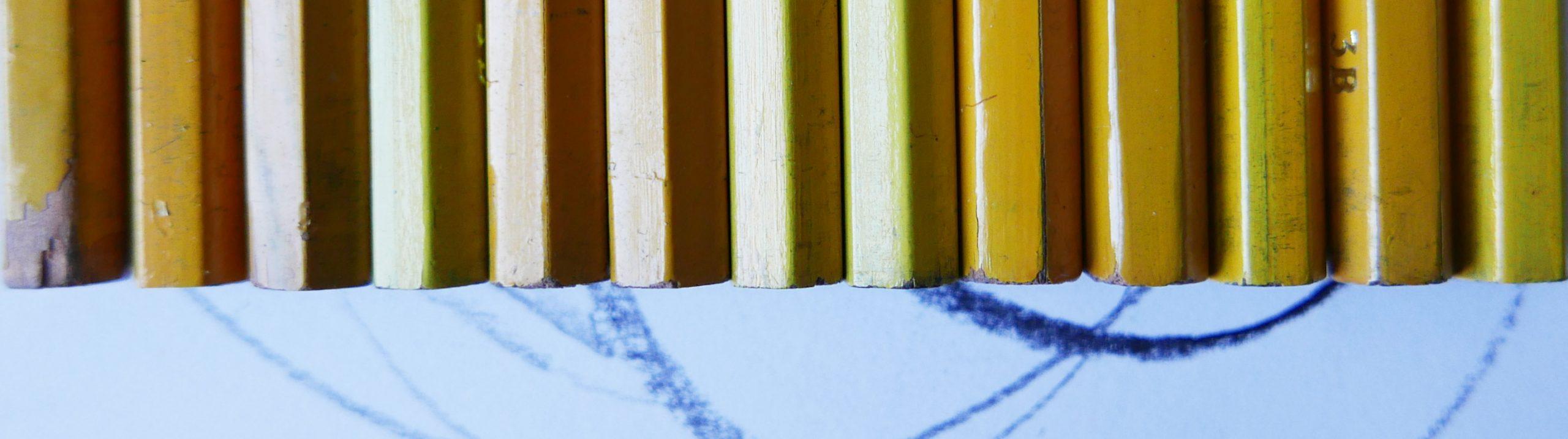 sound of a pencil reihe der Bleistifte gelb