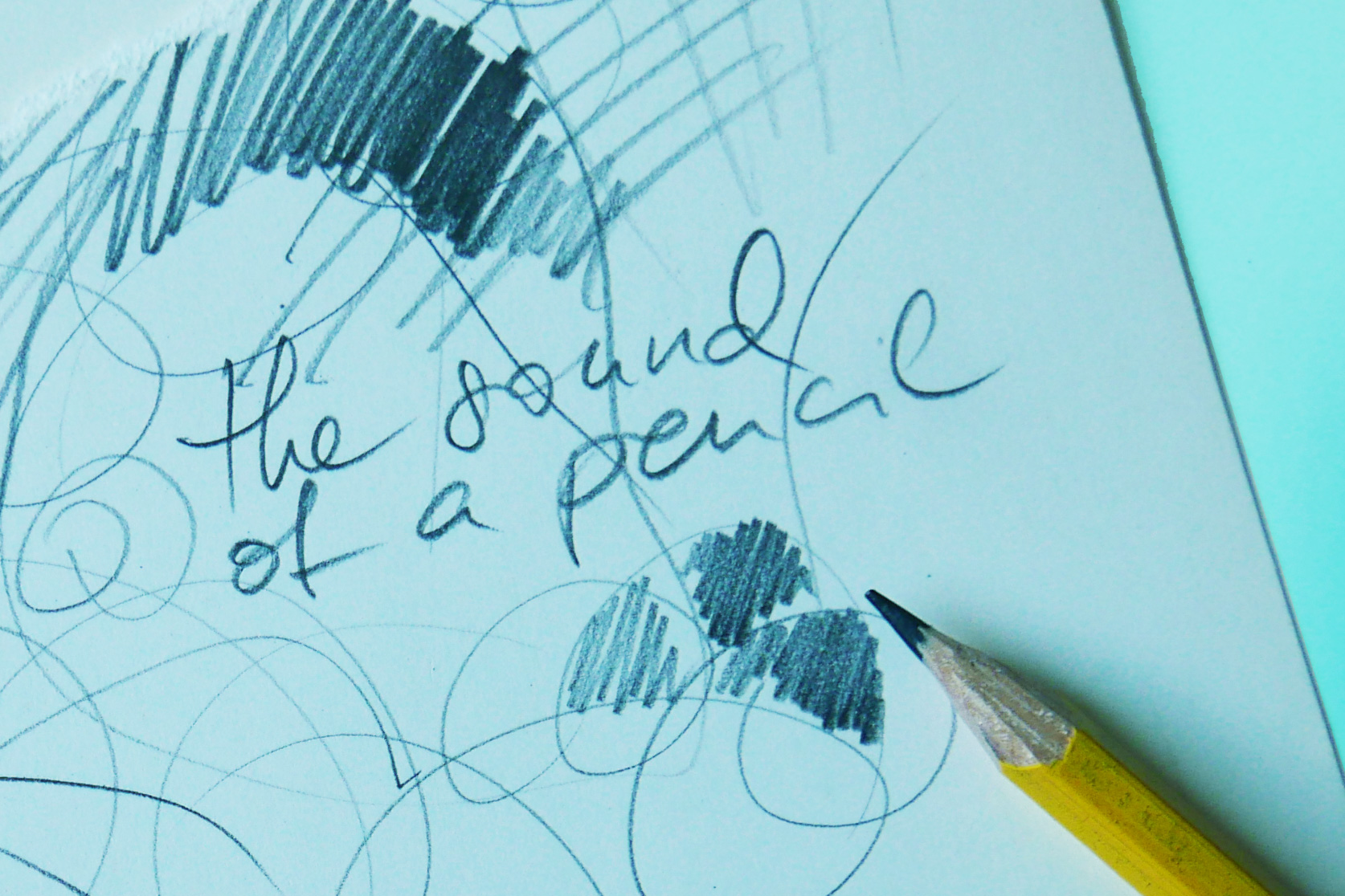 Notiz in Bleistift sound of a pencil schrift