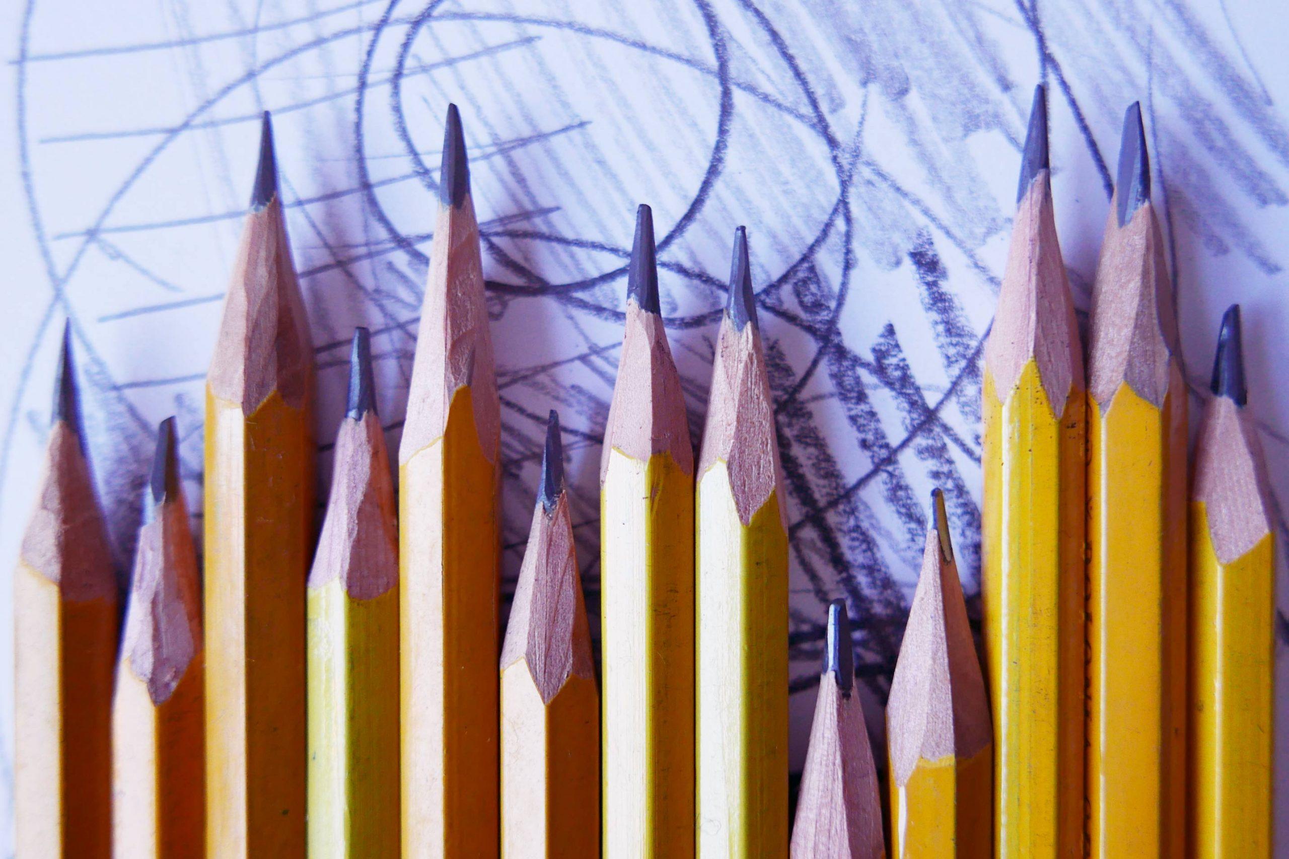 reihe der Bleistifte anspitzen