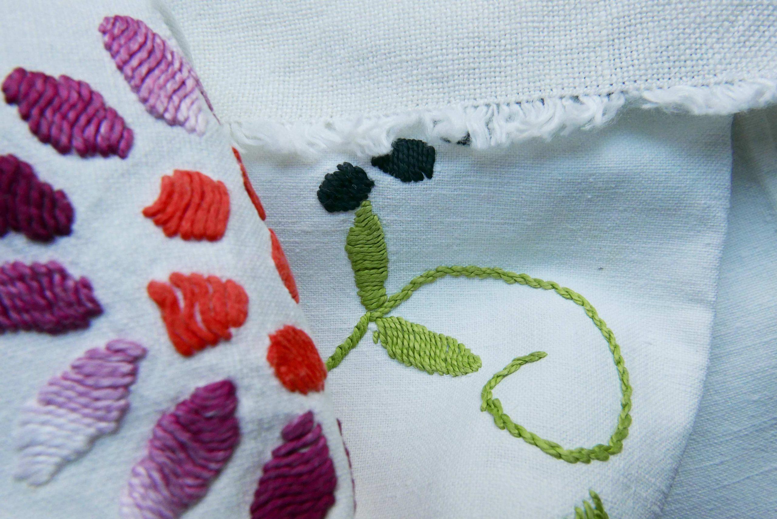 Coronavirus Fluch oder Chance geduldige Stickerei Detail Tischdecke