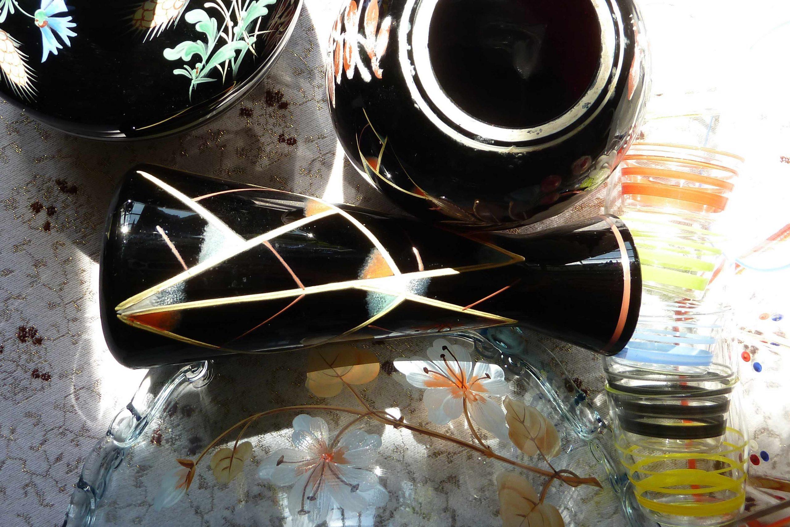 morris slow design schwarze glasvasen