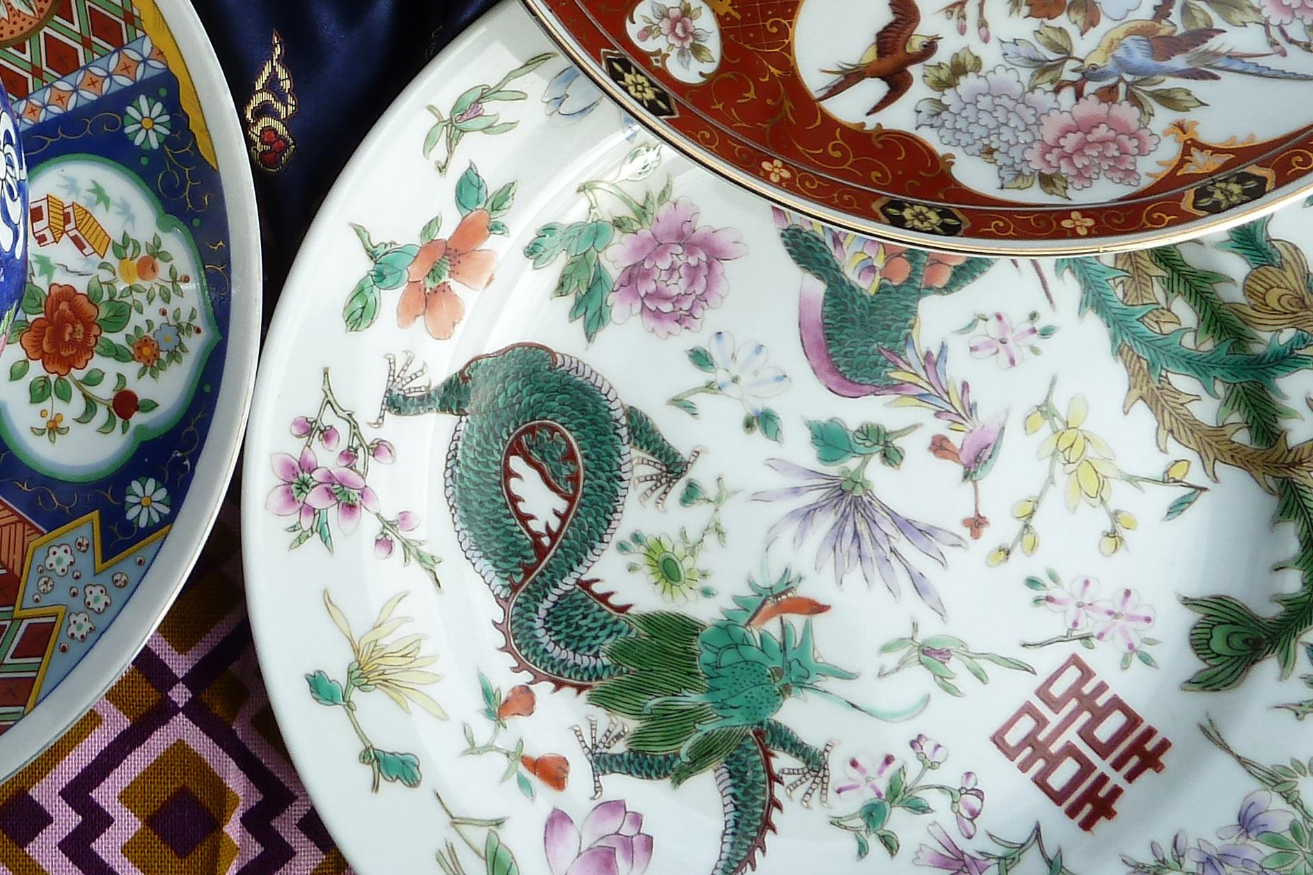 Fernost Mix China Teller mit Drachen