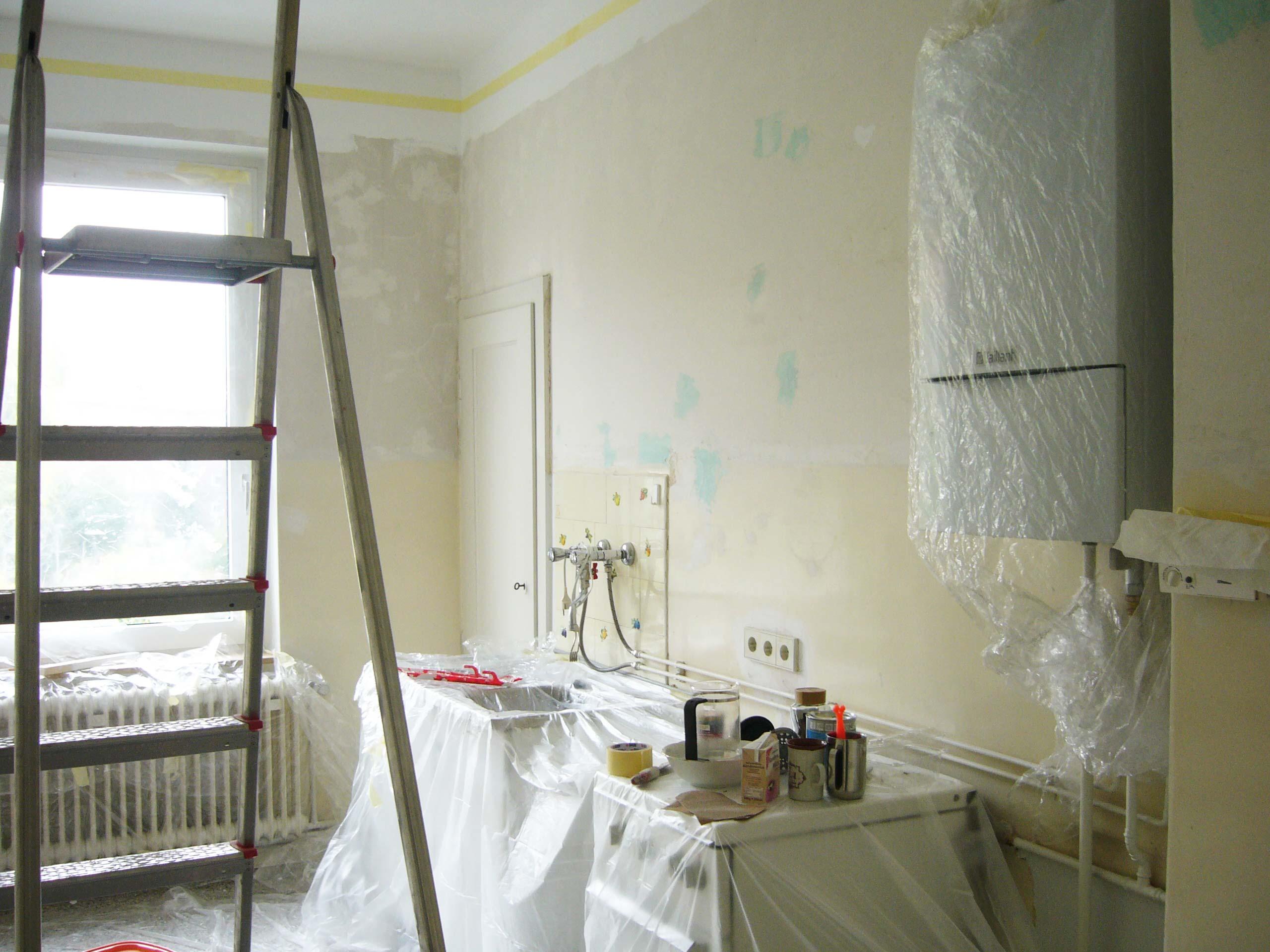 Umbau einer Küche nach Küchenphilosophie Leiter und Baustelle