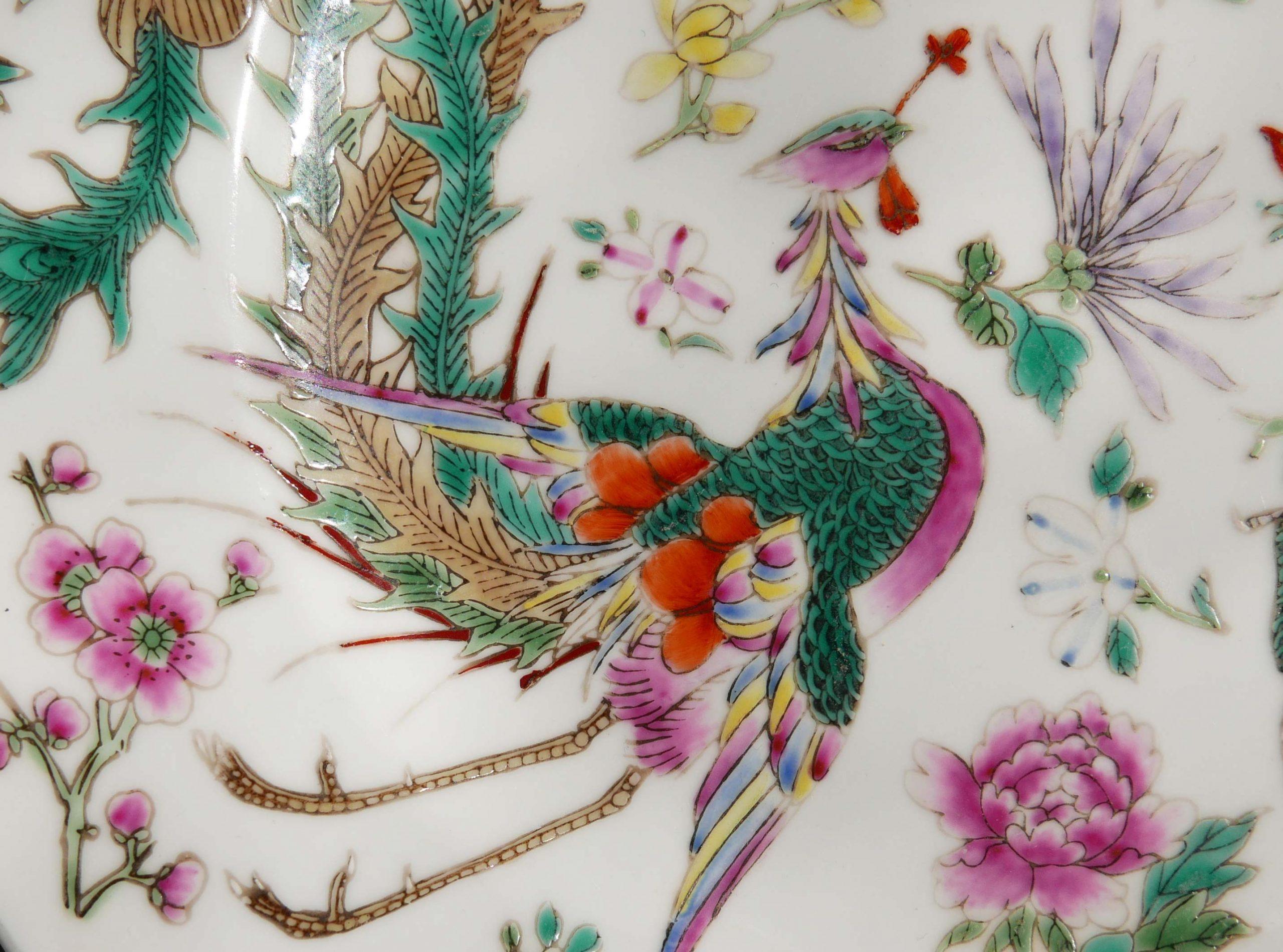 Asien Porzellan Motiv Kranich