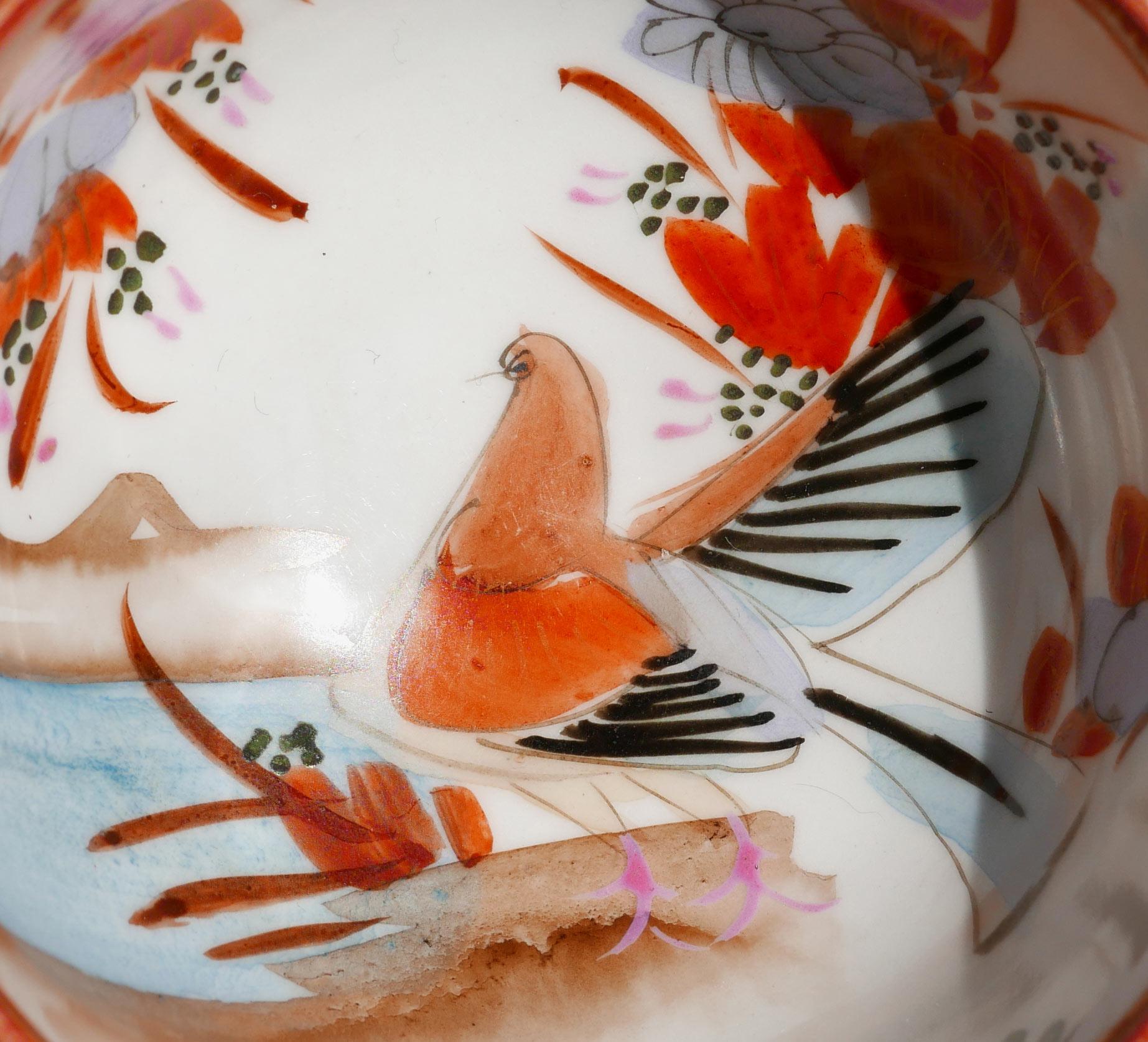Japanisches Porzellan Motiv Vogel in Rot