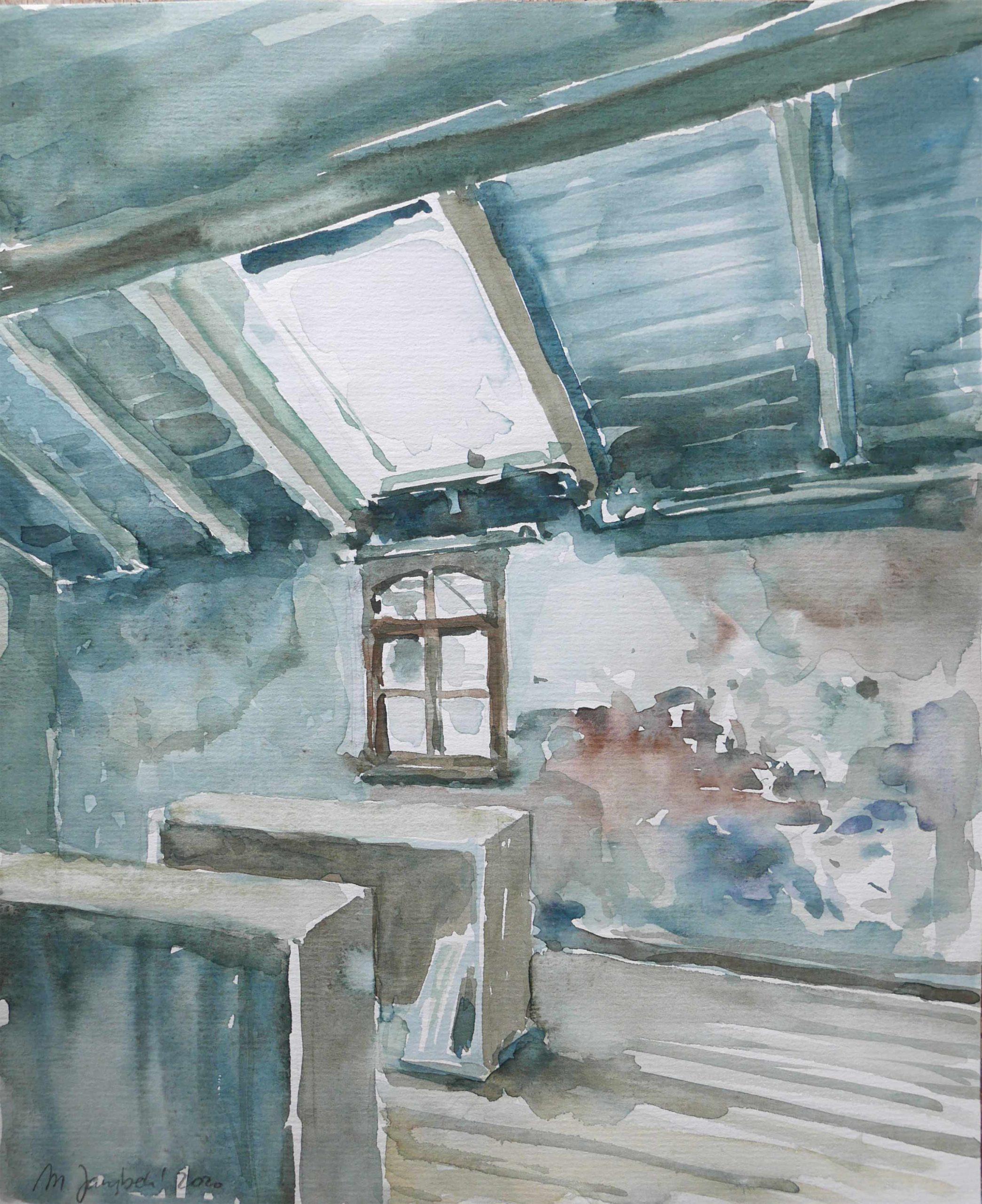 Alter Anbau mit einem Fenster und Dachschräge