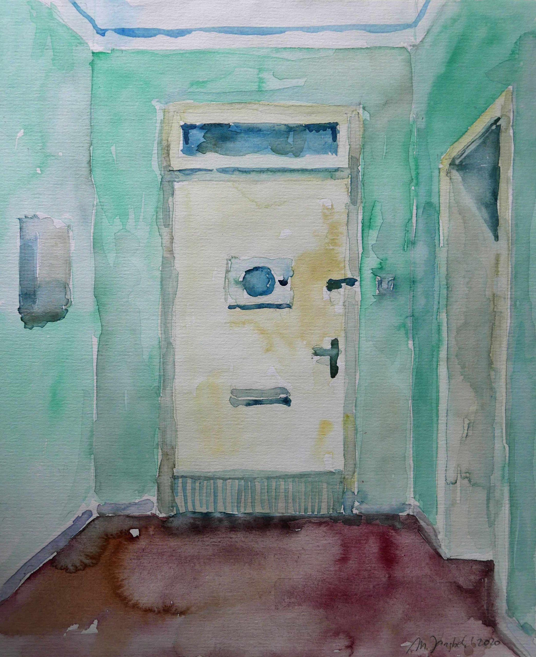 Flur einer Wphnung mit grünen Wänden, Aquarellbild