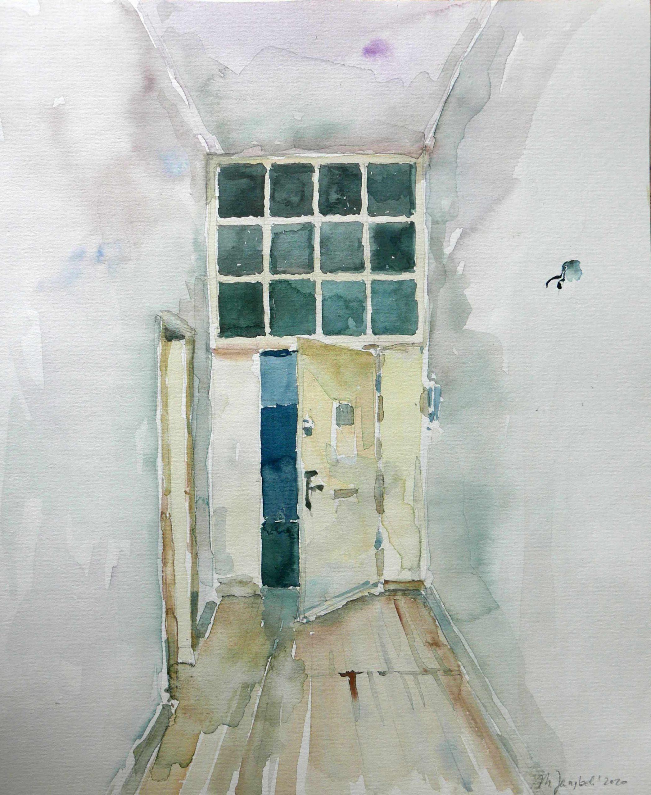 Aquarell Wohnungsbesichtigung Flur mit offerner Tür