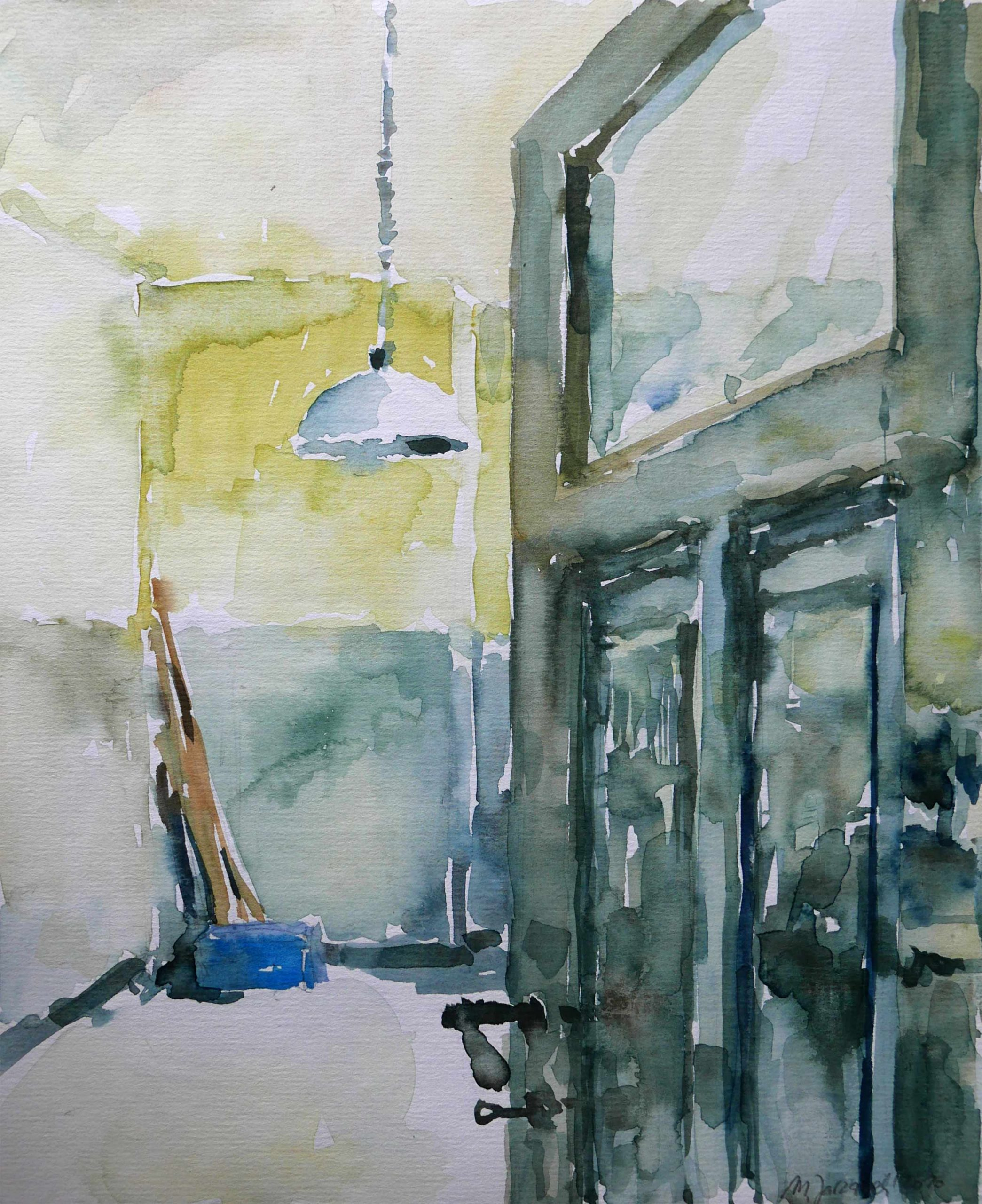 Aquarell Einblick in eine Küche bei Renovierung