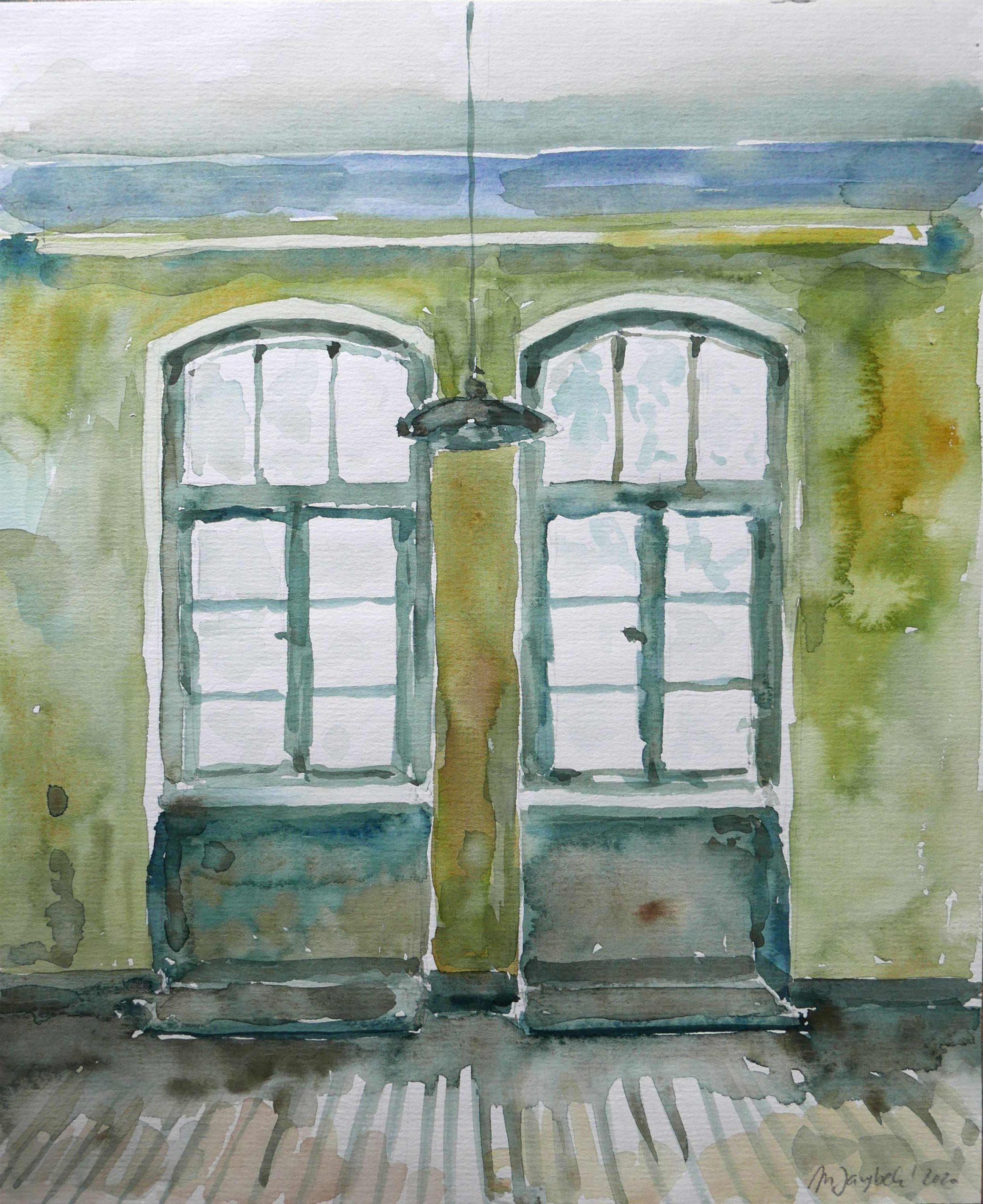 Aquarellbild leeres Zimmer Wohnungsbecichtigung Altbaufenster