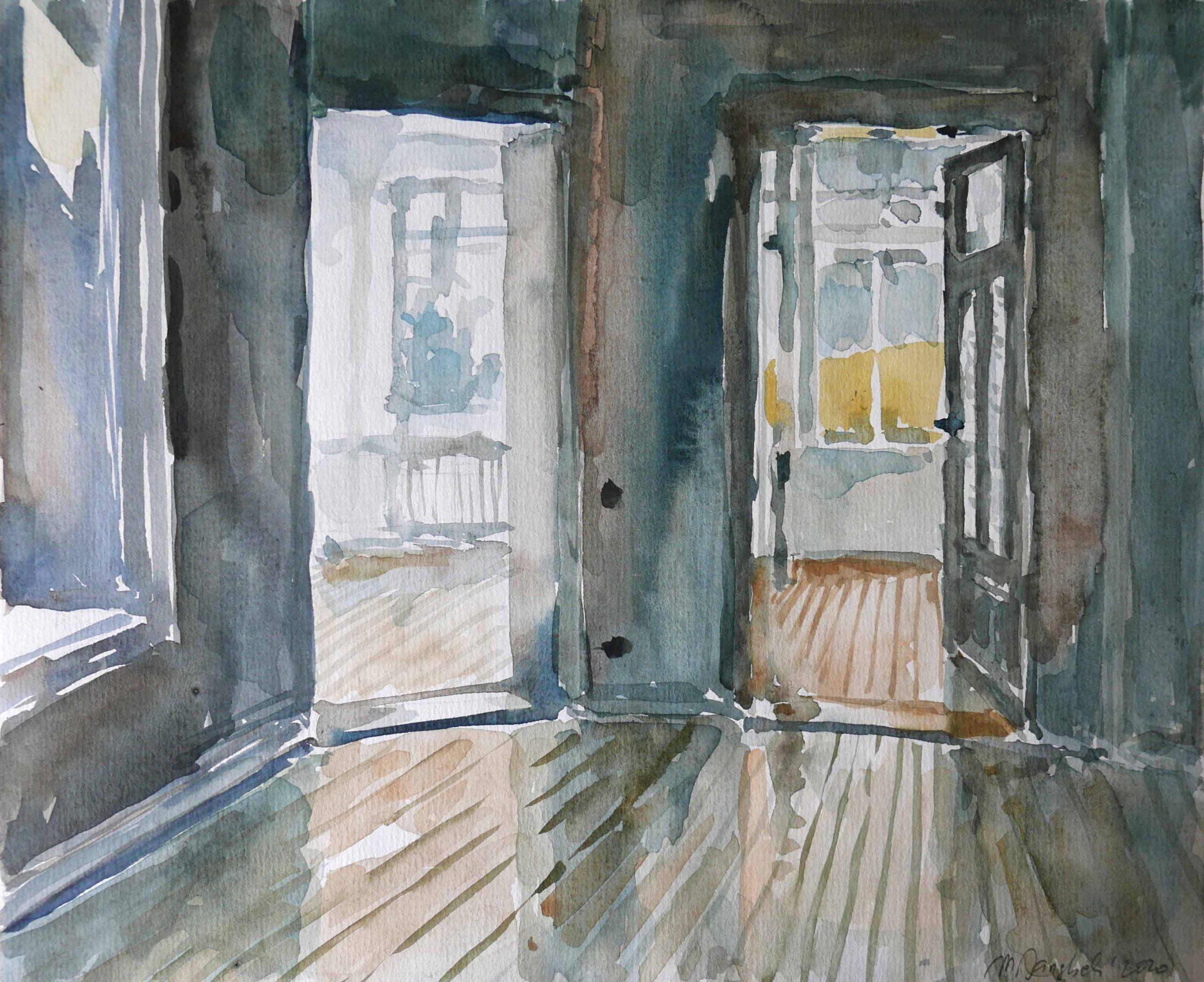 Dreieinhalb Jahre Besichtigungen Aquarell Flur leerer Wohnung und zwei Türen im Altbau mit Holzdielen