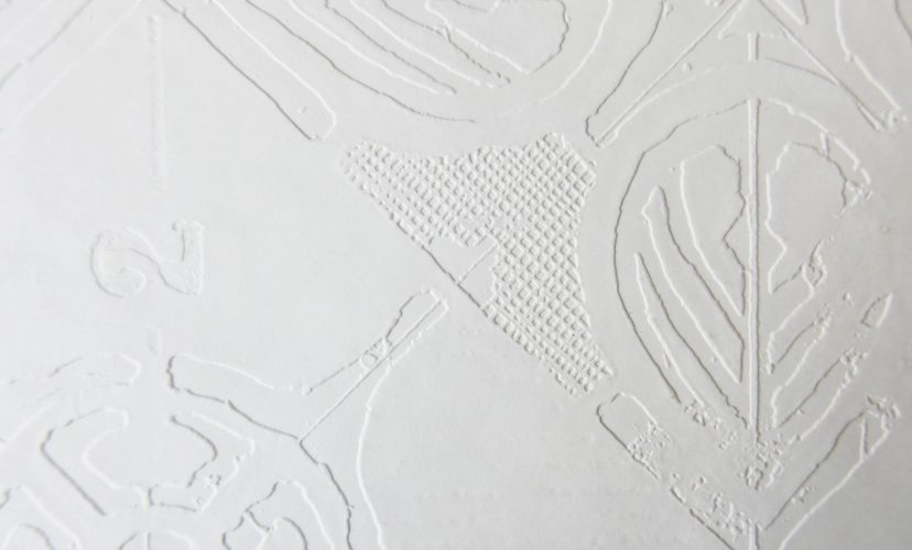 Zukunftsvisionen MusterPrägung auf weissem Papier