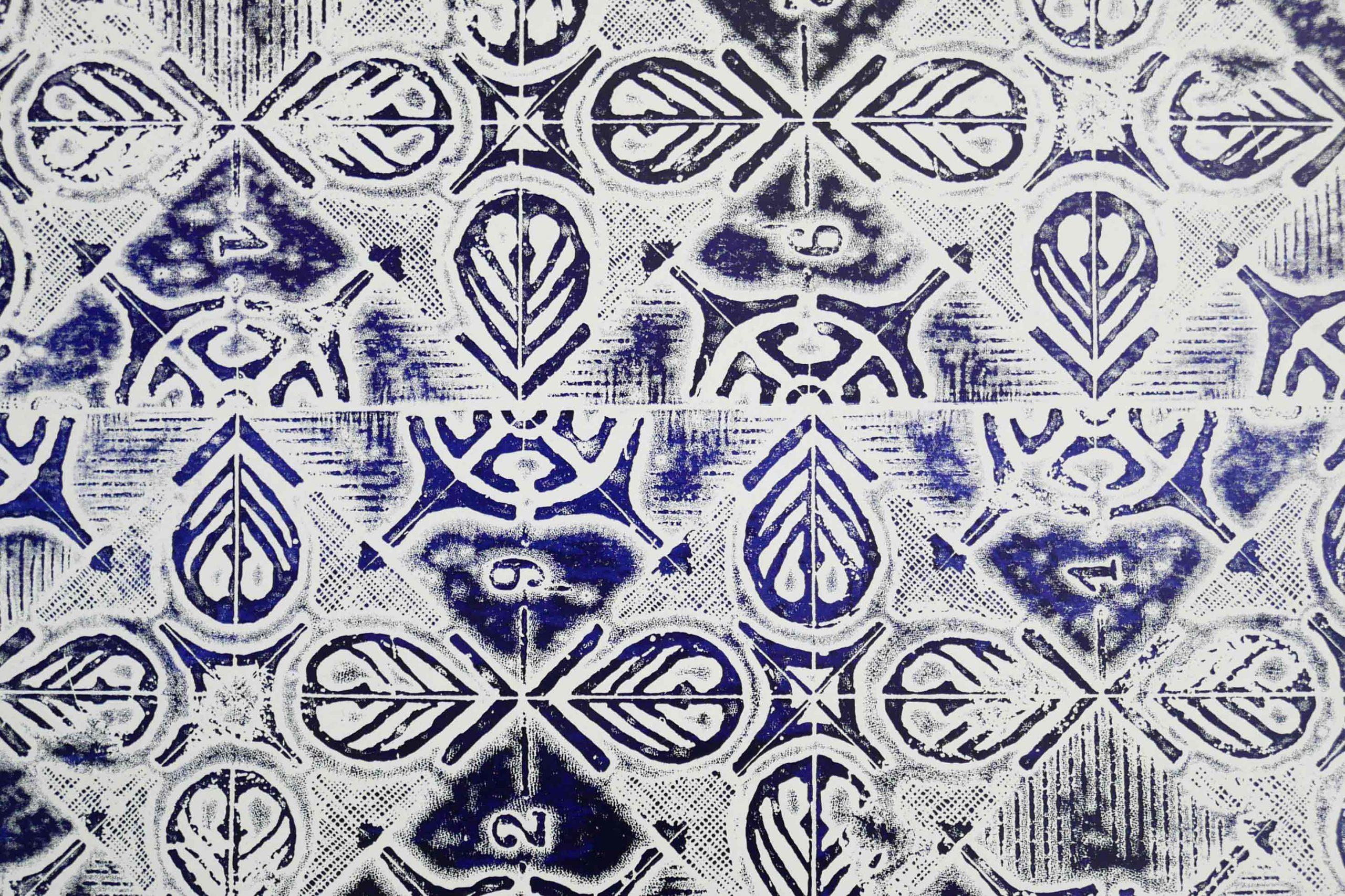 Muster Ornamente Wiederholung blau auf weiss