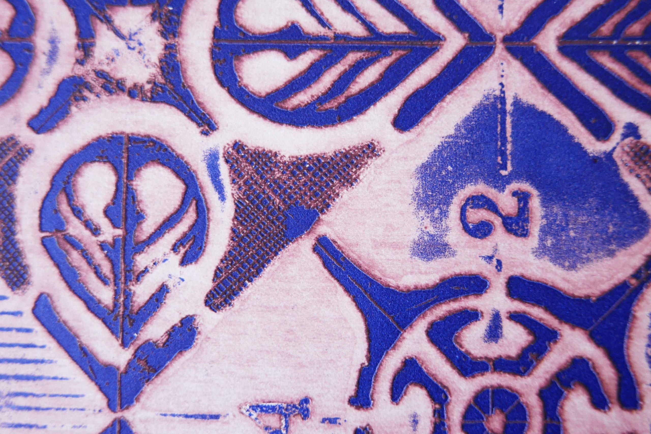 Prägedruck Aquaforta blau und rot Zukunftsvisionen