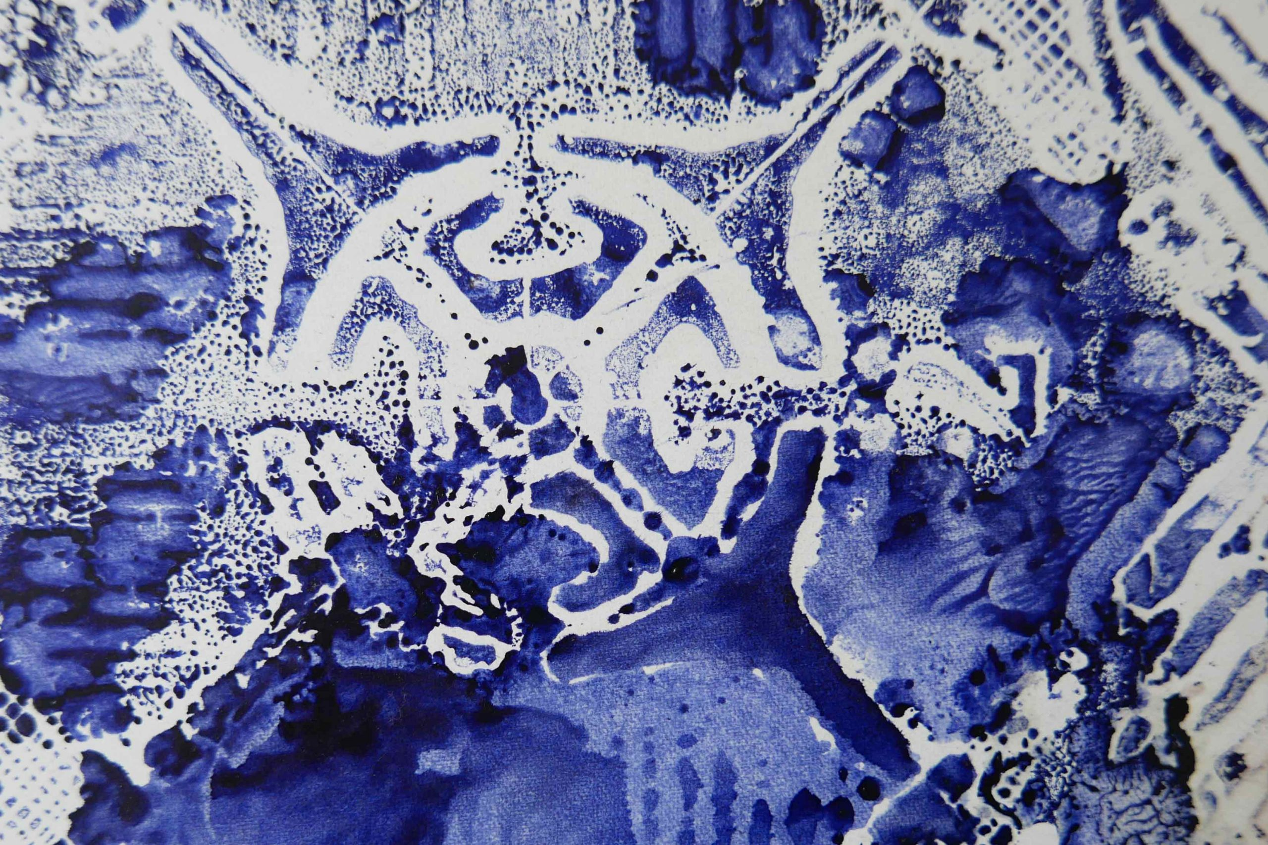 Druck Ornament Tintenblau