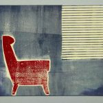 Grafik von Magda Jarzabek mit Sessel und Fensterjalousie