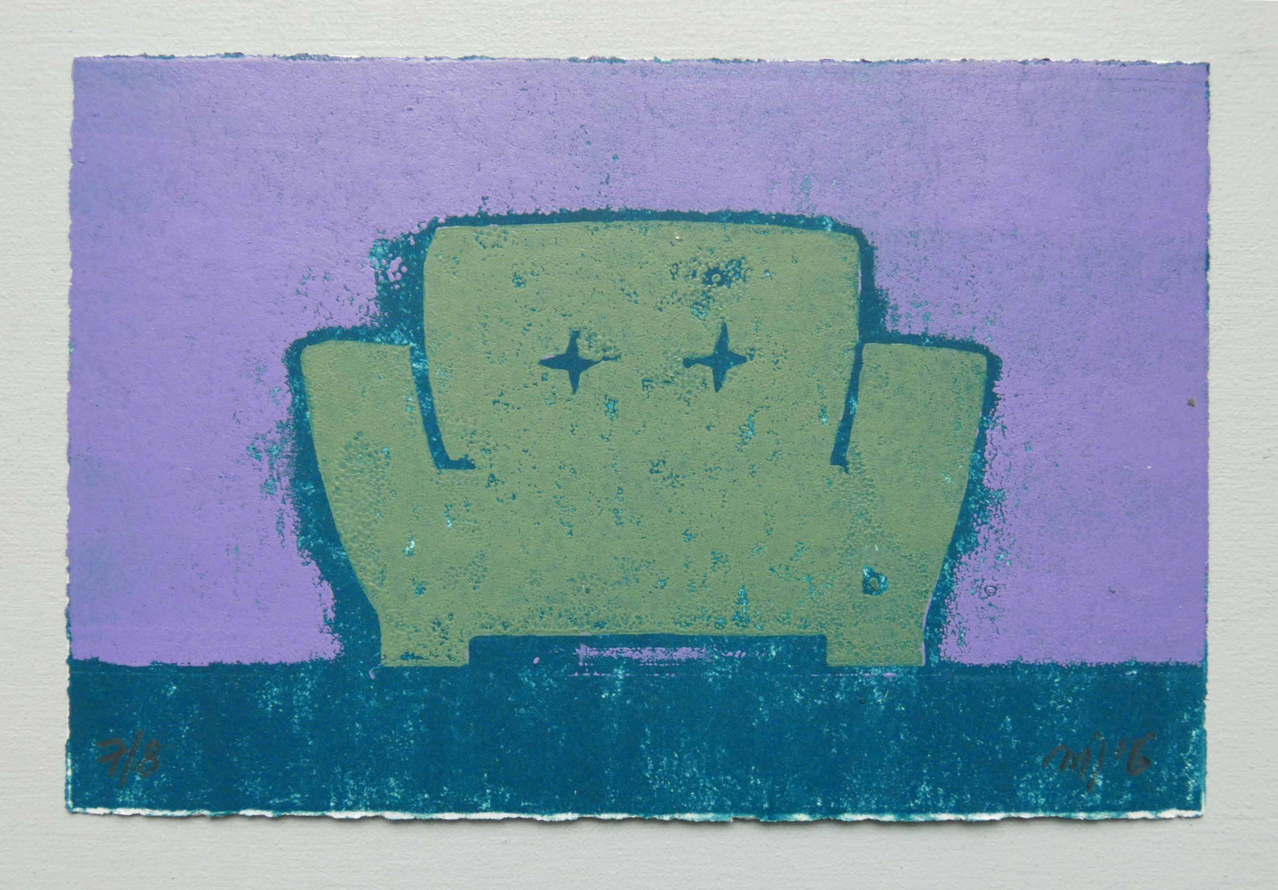 Grafik von Magda Jarzabek mit einem grünen Sessel