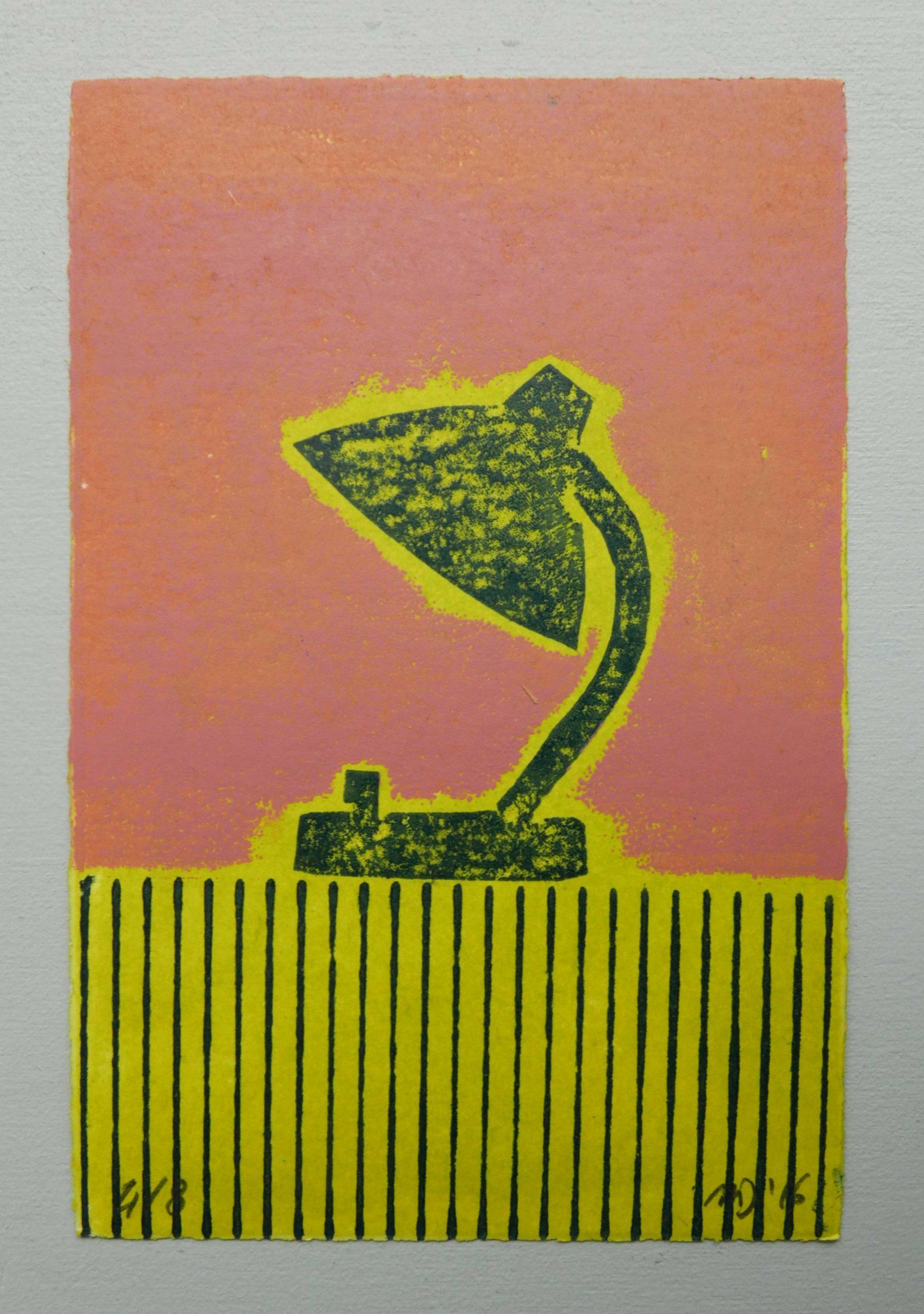 Ausmisten Minimalismus auf dem Durchmarsch Grafik von Magda Jarzabek mit einer Tischlampe