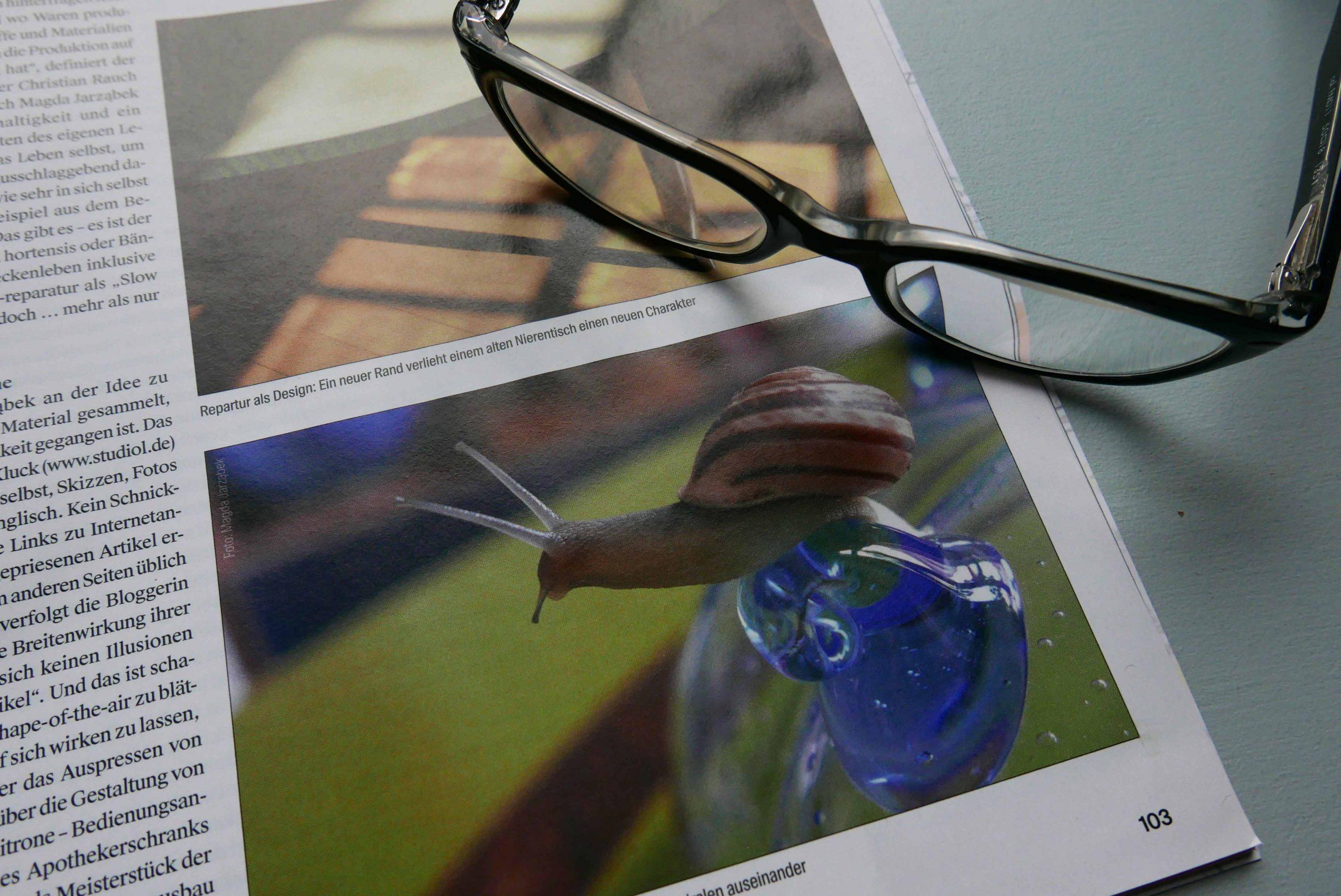 Zeitschrift Stadtkind Hannover offene Seite mit Abbildung einer Bänderschnecke Socke und eine Brille