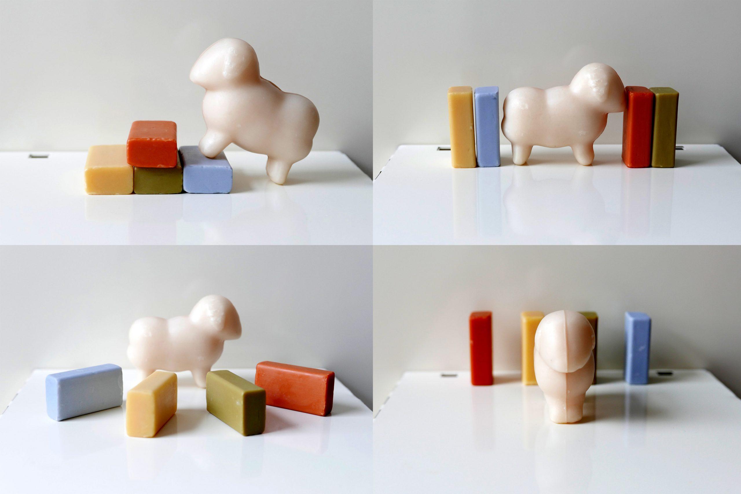 Bilder verschiedener Kompositionen von Schafsmilchseifen, Schaf und Bauklötze