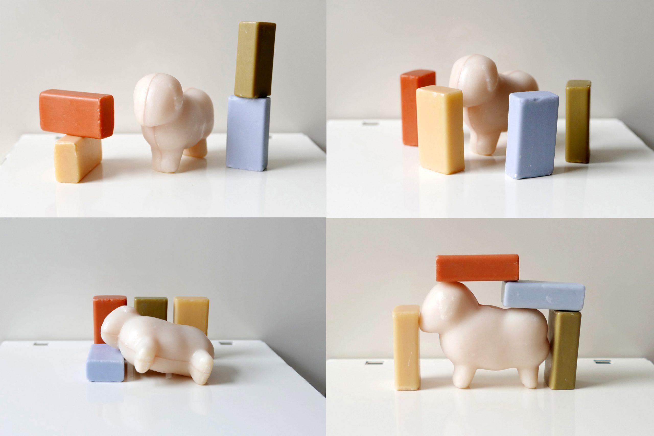 Schafsmilchseifen in vierer Bildern wo jeweils ein Stilleben abgebildet wird